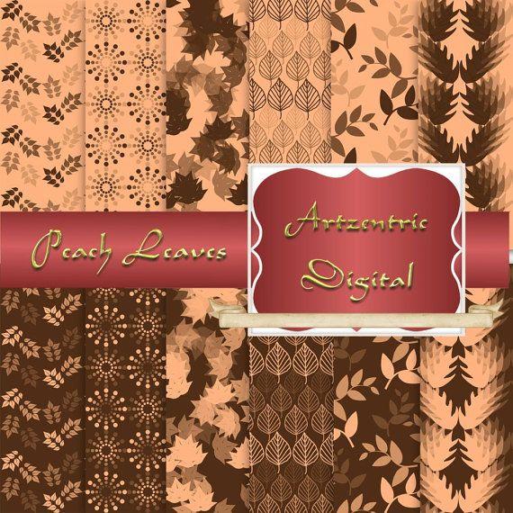 "Peach and Brown Leaf Design Digital Paper, 12 Sheets 12"" x 12"" .jpg, 300 dpi"