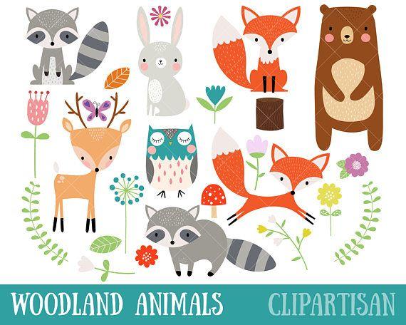 Woodland Animal Clipart Fox Bear Raccoon Deer Owl Etsy Animal Clipart Owl Nursery Art Woodland Animals