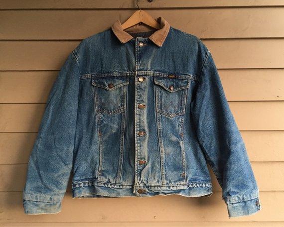 M L 70s Wrangler Denim Jacket Blanket Lined Lining Wool Cotton Denim Jacket Jackets Vintage Denim Jacket
