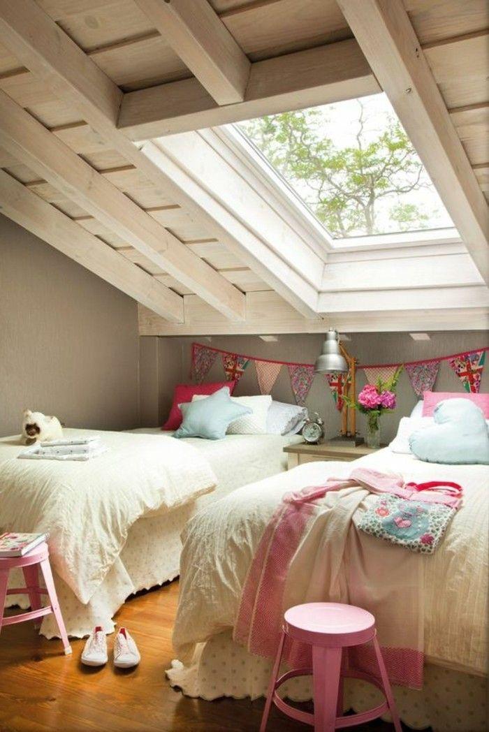 120 id es pour la chambre d ado unique fen tre de toit for Amenagement chambre de bonne