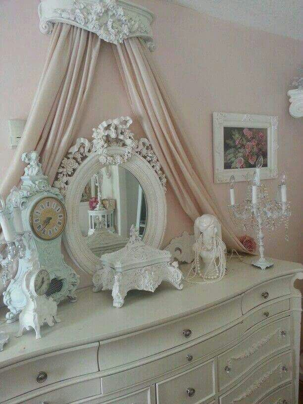 Shabby Chic -- never thought of putting a curtain behind the dresser, nice touch with the crown ☆*+:。.。