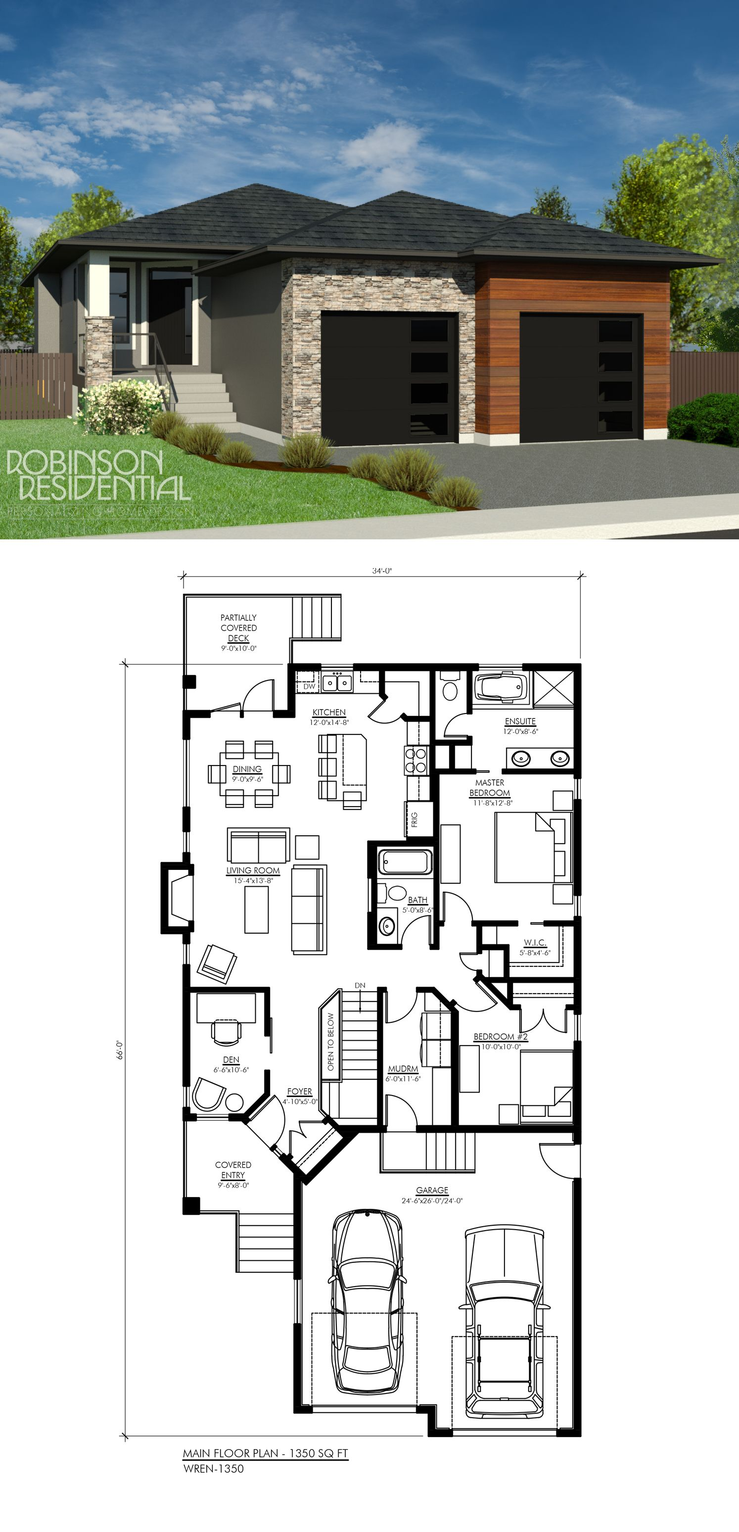 1350 Sq Ft House Design: Contemporary Wren-1350 In 2019