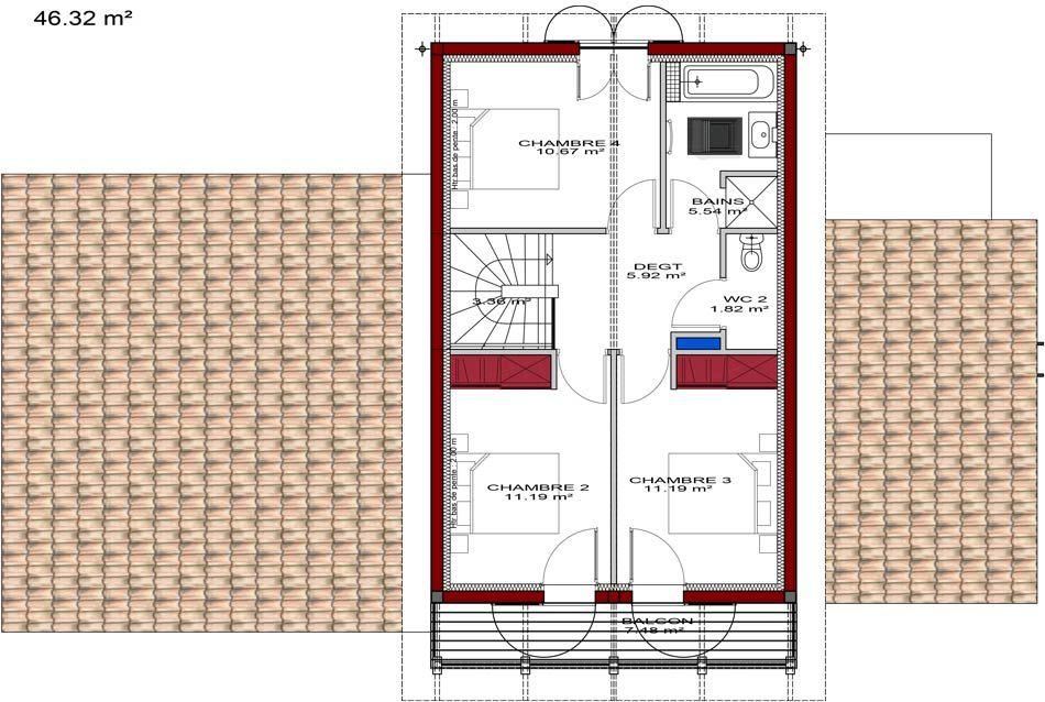 Plan D Une Grande Maison Basque Etage Plan De Maison Basque Plan De Maison A Etage Plan Maison 120m2