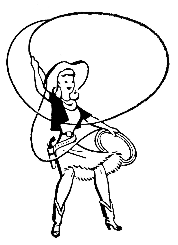 Retro Clip Art Cute Cowgirls