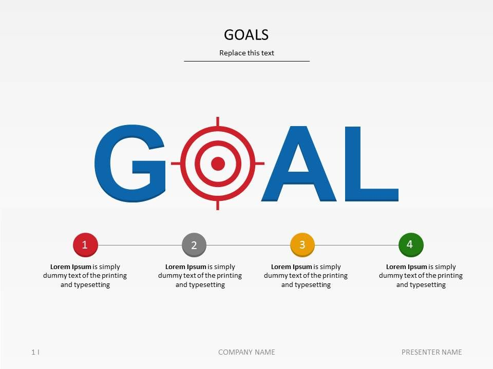 PowerPoint template Goals at Slideshop Taking Care of - marketing presentation