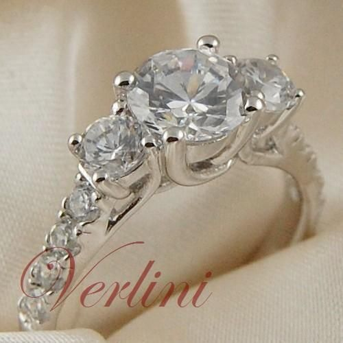 VERLINI 1.5 Carat Round Cut Cubic Zirconia Engagement Ring Wedding Set Size 5-10