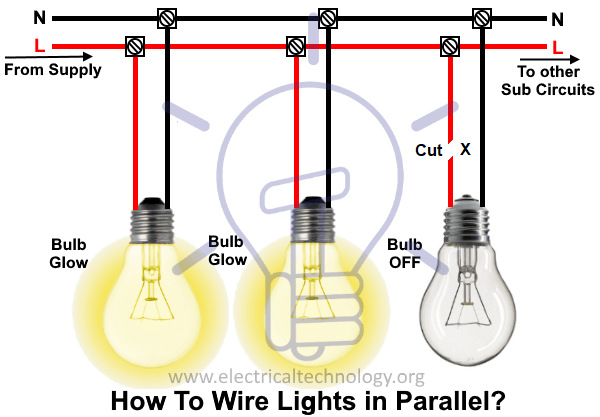 How To Wire Lights In Parallel Switches Bulbs Connection In Parallel Wire Lights Parallel Wiring Lights