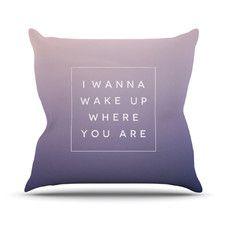 Wake Up Cotton Throw Pillow