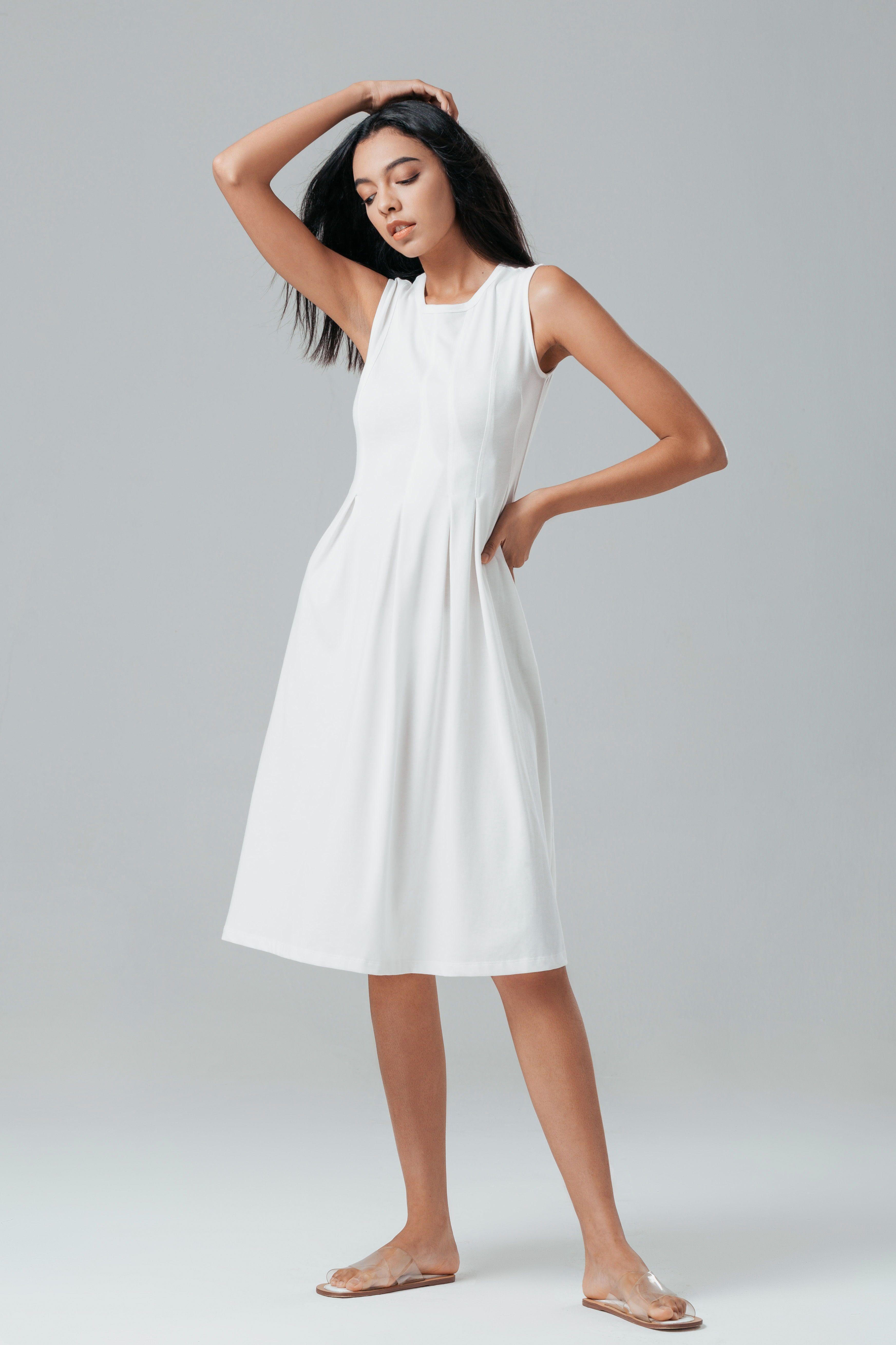 Volans Midi Dress White Dresses Spring Outfits Women Vegas Dresses [ 5235 x 3490 Pixel ]