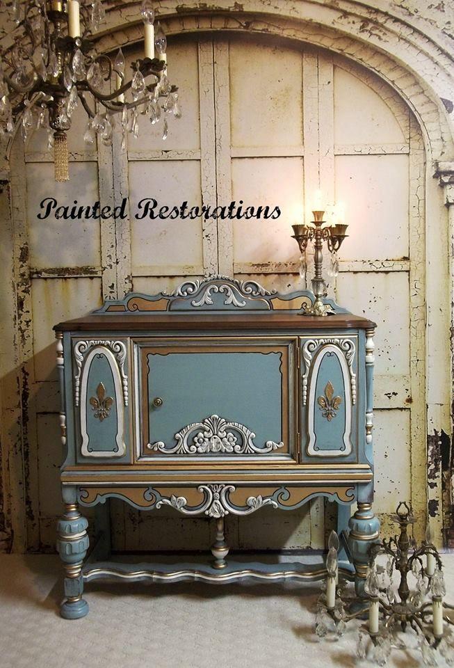 Painted Restorations Persian Blue ornate buffet Unique
