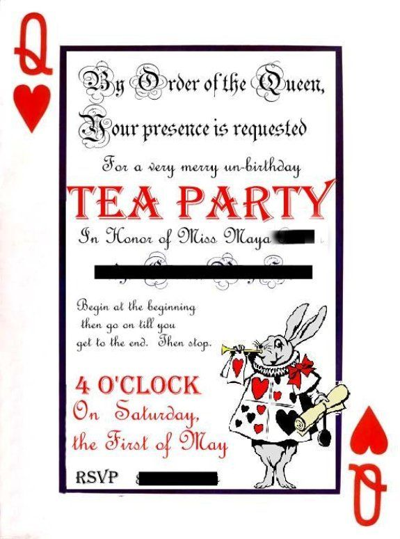 Alice In Wonderland Party Invitations Template Koran Sticken Co