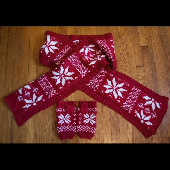 Red Fair Isle Scarf and Mittens Scarf and Fingerless Mittens Set ...
