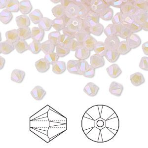 Bead, Swarovski crystals, rose water opal shimmer 2X, 4mm Xilion bicone with 0.8-1.1mm hole (5328). Sold per pkg of 1,440 (10 gross).