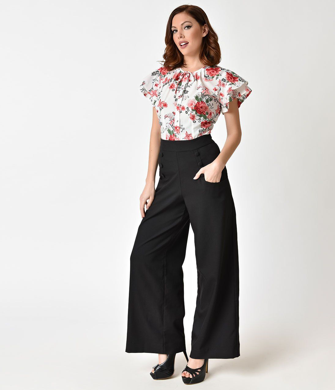 3981c33d0f7 1950s Fashion History  Women s Clothing Unique Vintage 1940S Style Black  High Waist Sailor Ginger Pants  62.00 AT vintagedancer.com