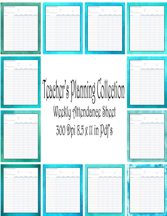 Attendance-Teacher Planning Collection-Weekly Attendance Sheet - download attendance sheet