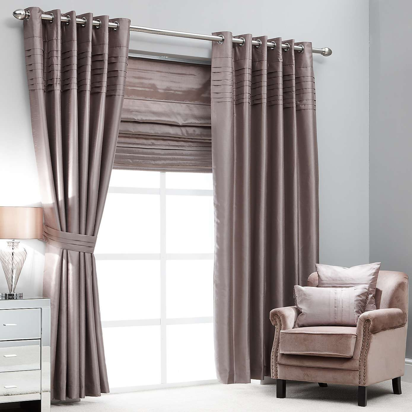 Hotel Mink Pintuck Lined Eyelet Curtains Dunelm