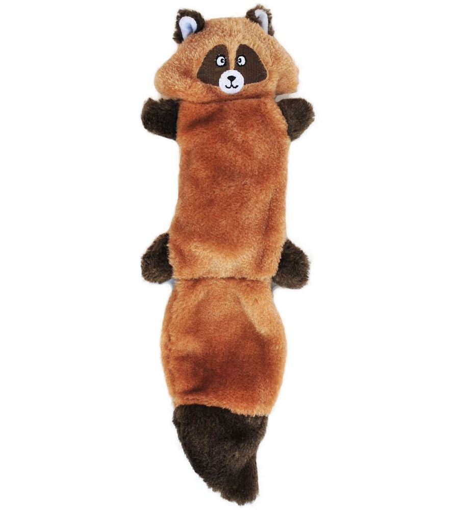 Raccoon Squeaky Dog Toy 3 Squeaker No Stuffing Plush For All Size