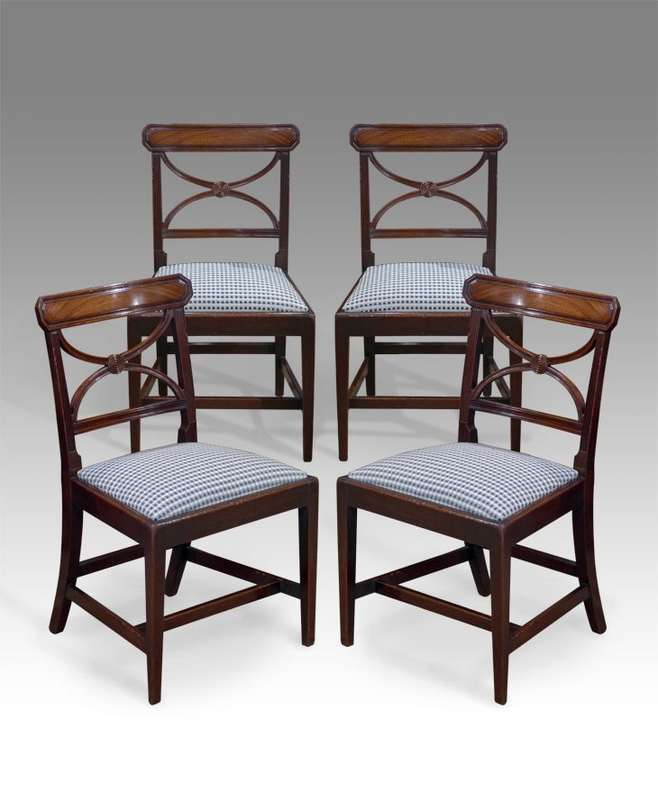 841741bffccc Antique Dining Chairs - Set of four George III mahogany dining chairs.  Figured octagonal head rails over reeded supports and moulded splats united  with ...