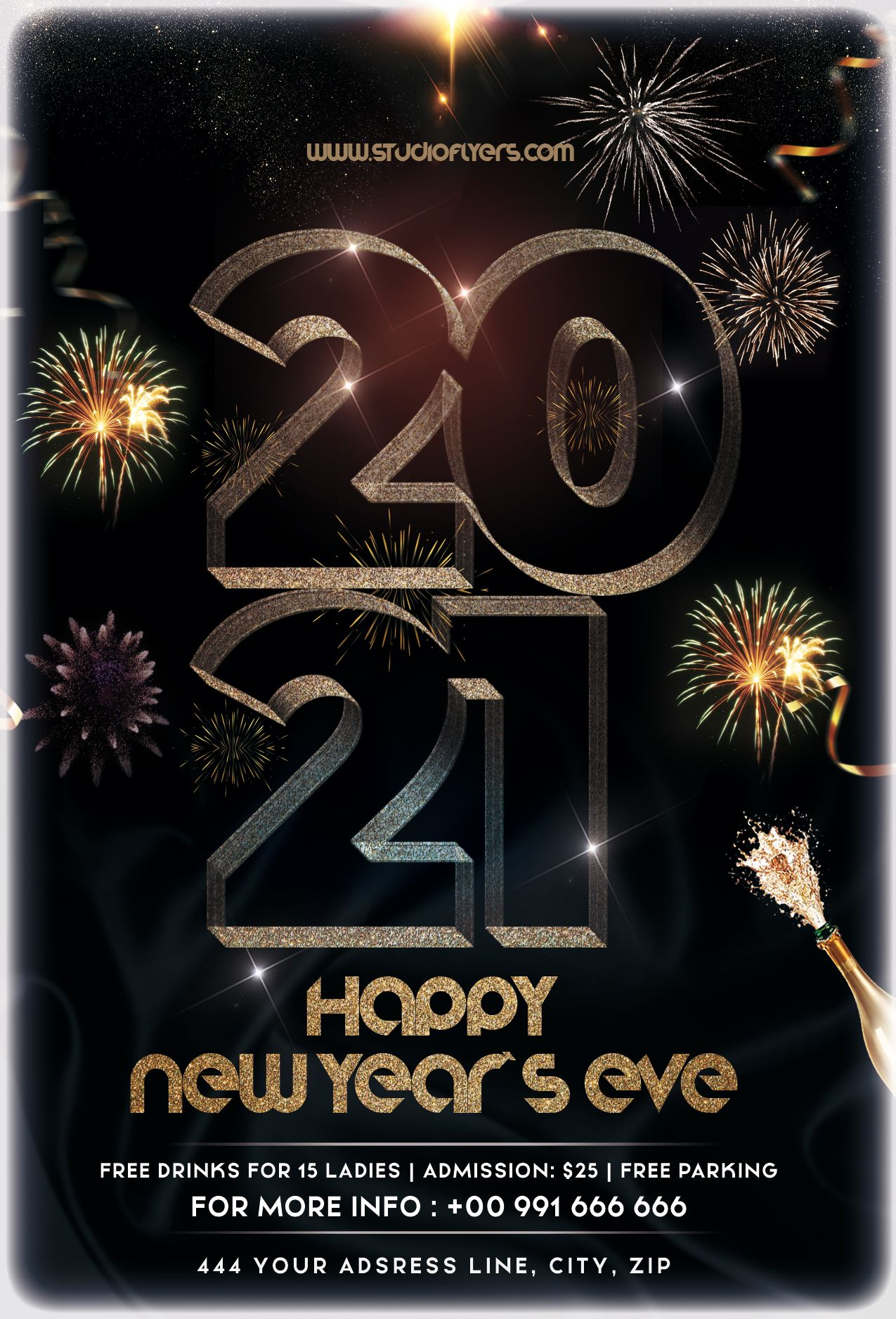 Happy New Year Eve 2021 Free Psd Flyer Template Studioflyers Com Free Psd Flyer Templates Free Psd Flyer Psd Flyer Templates