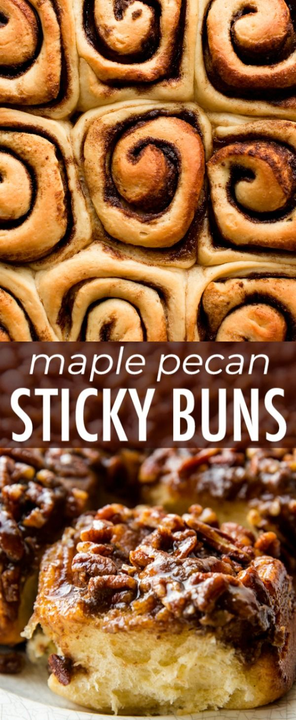 Breakfast and brunch have never been more indulgent and delicious than with these make-ahead maple pecan sticky buns! Recipe on sallysbakingaddiction.com #stickybuns