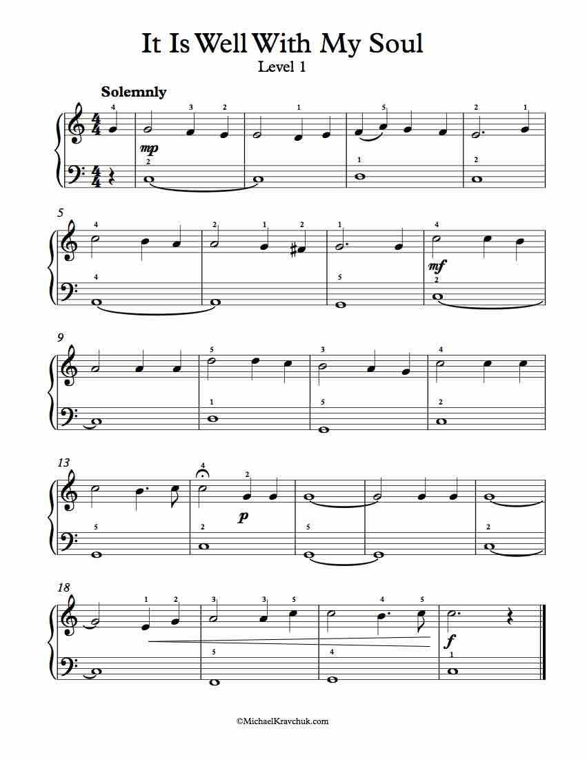 Level 1 Free Piano Arrangement Sheet Music It Is Well With My
