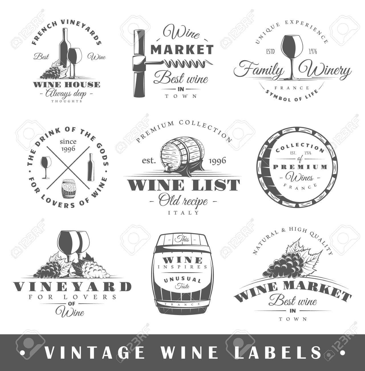 Set Of Wine Labels Elements For Design On The Wine Theme Ad Labels Wine Set Theme Design Vintage Wine Label Wine Logo Vintage Wine