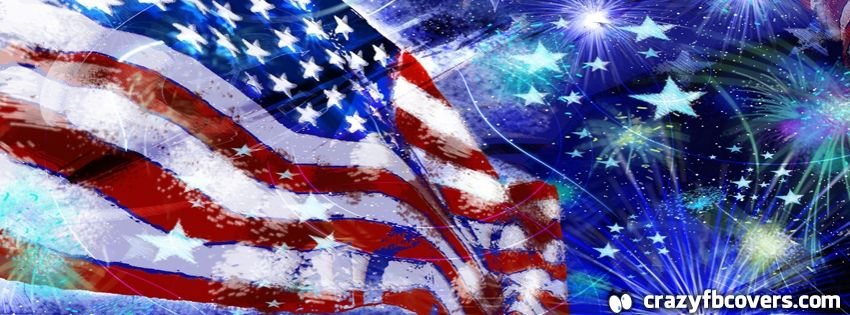 Abstract America Flag 4th Of July Celebration Facebook Cover