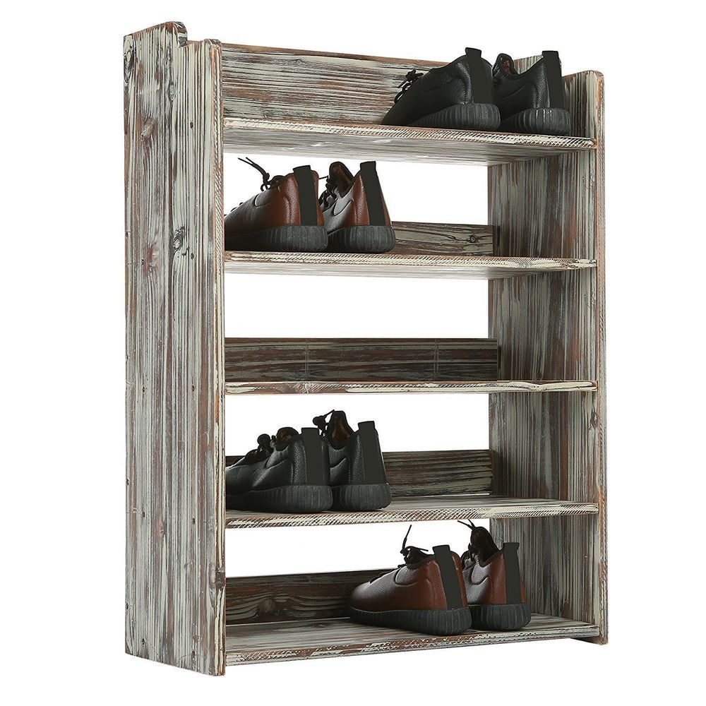 5 Tier Rustic Torched Wood Entryway Shoe Rack Storage Shelves Fast Ship Mygift Entryway Shoe Shoe Rack Wood Shoe Rack