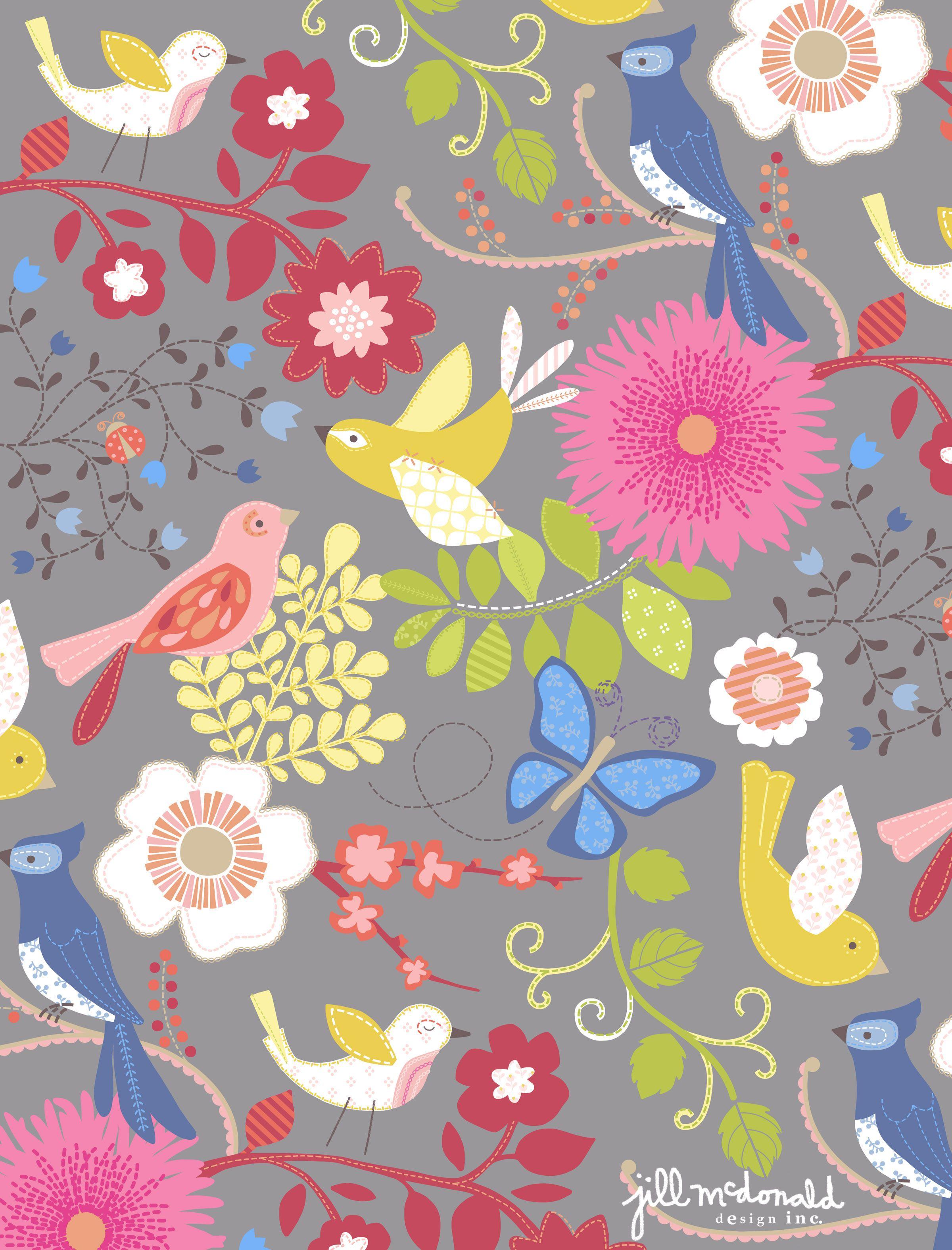 Birds Flower Print By Jill Mcdonald Design Fabric Pinterest