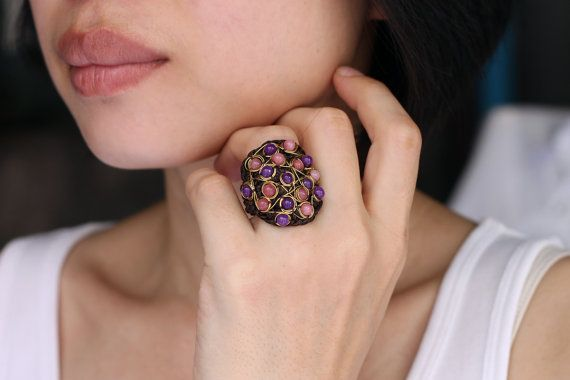 Dulce amor anillo tejido de alambre cóctel por XtraVirgin en Etsy