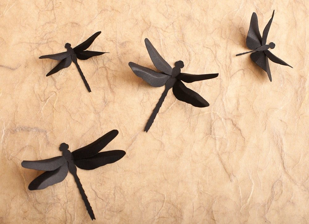 Dragonfly Wall Decor: 3D Wall Dragonfly Silhouettes in Black for ...