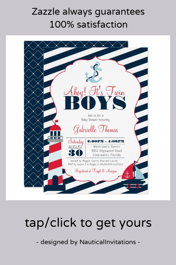 Red Stripe Ahoy Nautical Personalized Party Thank You Cards