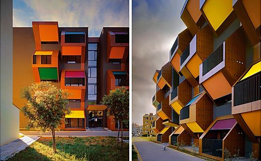 Housing Complex In Slovenia Is A Series Of Honeycomb Modular Apartments Eco Architecture Honeycomb Apartment Architecture