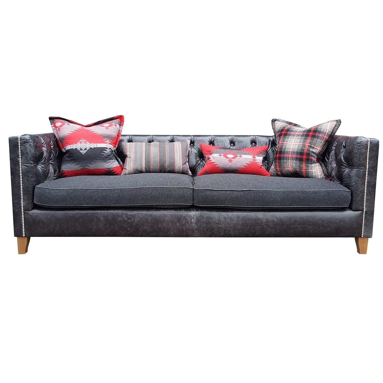 Tetrad Sofa Empire Grand In Black Leather Flint Wool