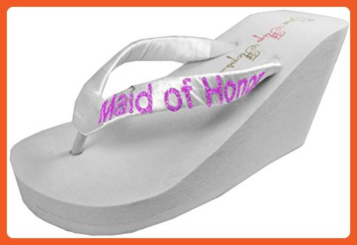 1cde658b53d72d Wedding Flip Flops Maid of Honor Bridesmaid Bridal Flip Flops Bride Bling  Glitter Wedge Wedding Platform Sandals Satin Flip Flops Shoes 10 M US -  Sandals ...