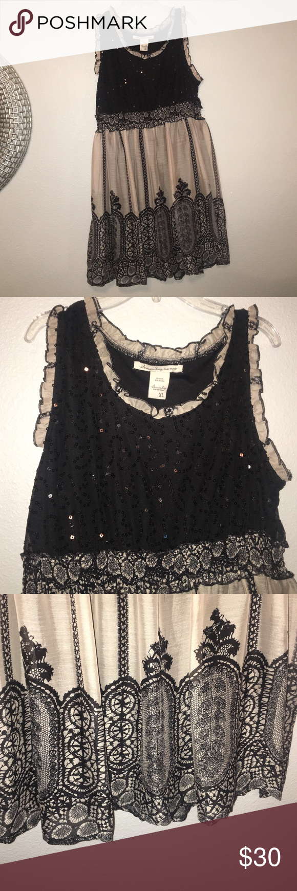 XL Tunic dress from Macy's. Black and taupe. Black and taupe. Never worn American Rag Tops Tunics