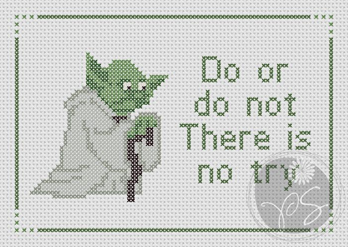 Yoda Star Wars - There Is No Try quote (Printable PDF Pattern ...