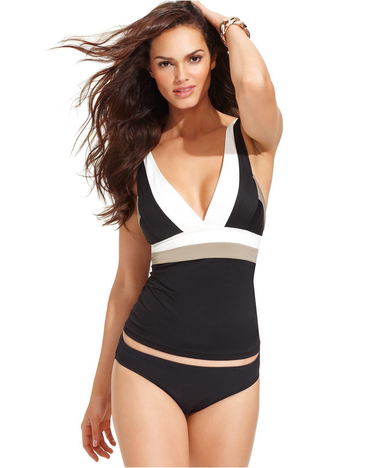 789488c940 DKNY Swimsuit, Colorblock Tankini Top & Solid Brief Bottom - Swimwear -  Women - Macys