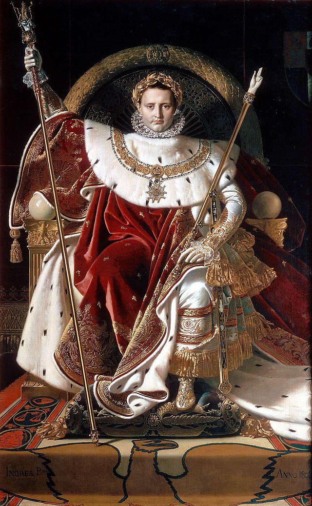 Napoleon I en su trono imperial Jean Auguste Dominique Ingres Musée de l'Armée , el Hôtel des Invalides , París