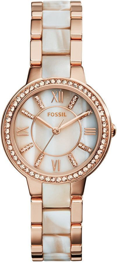 8d5412b6df73 Fossil Women s Virginia Shimmer Horn and Rose Gold-Tone Stainless Steel  Bracelet Watch 30mm ES3716