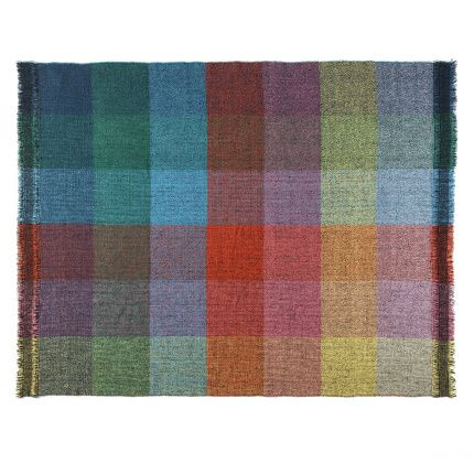"""""""Dark Squares"""" blanket, part of Integrate Time and Space line; handwoven using 100% ecological French merino wool;  140 cm x 180cm.  Made in Spain by Teixidors.  Brand --Zuzunaga; Designer--  Zuzunaga; Store -- Zuzunaga on Clippings."""