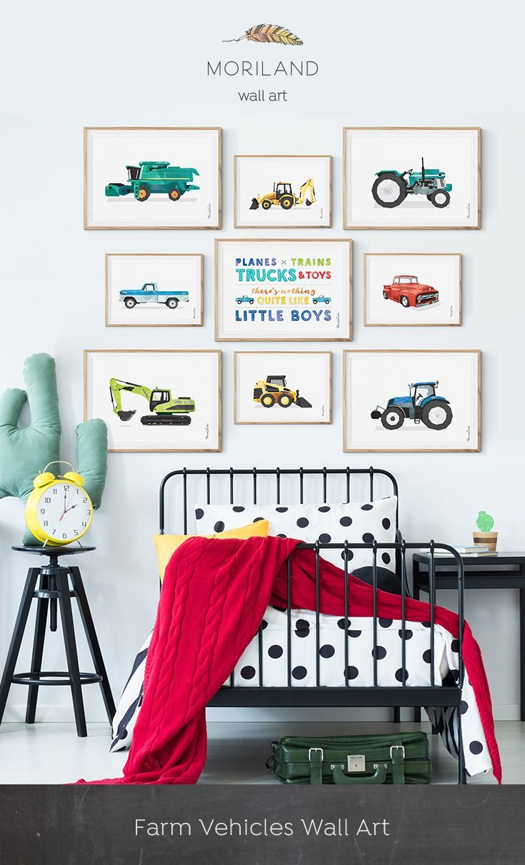 Backhoe Print, Digger Art, Construction Print, Toddler Boy Room Decor, Transportation Decor, Horizontal Wall Art, Heavy Equipment Party