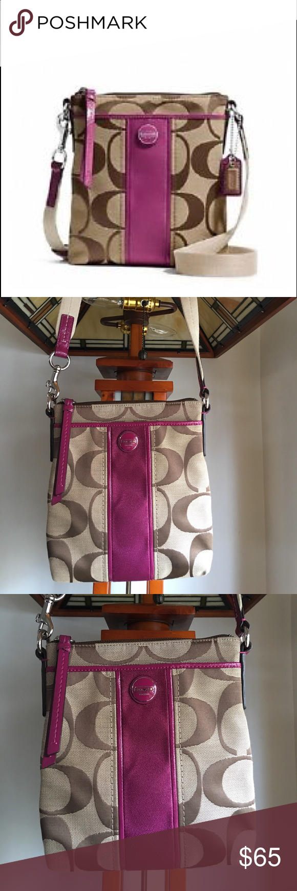 """NEW COACH LEGACY CROSS-BODY BAG NEW COACH legacy Cross-body bag.  Khaki/Passion Berry.  NEW, never used, w/o tags. No marks, inside or out. Please Refer to pics.  Dimensions 7 1/2"""" x 8 1/2''. Adjustable strap. COACH box, dust bag & keychain not included. Interior slip pocket & exterior front & back slip pocket.  Bag height 8.5"""" Coach Bags Crossbody Bags"""