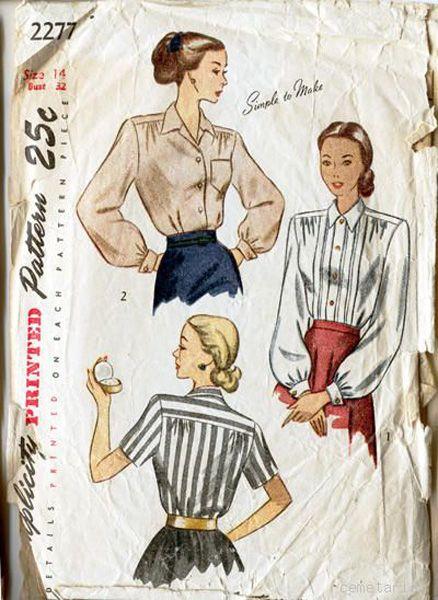 Simplicity 2277 Vintage 1940s Sexy Secretary Blouse Shirt Pattern B32