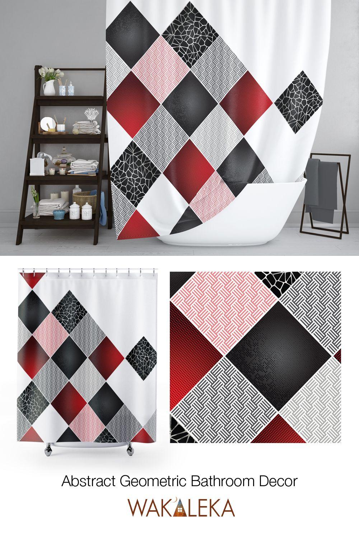 Modern Geometric Shower Curtain Set Bold Square Pattern Buy Here