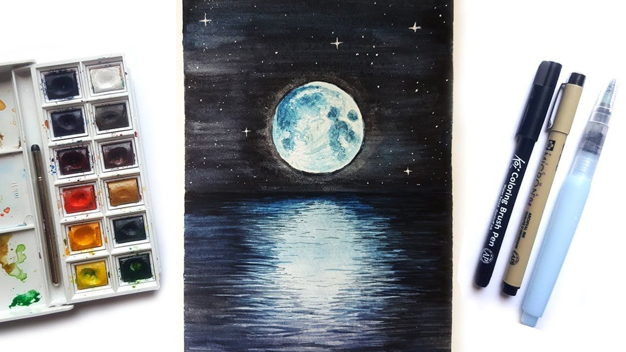 Watercolor Moonlight Painting How To Paint With Watercolor How To
