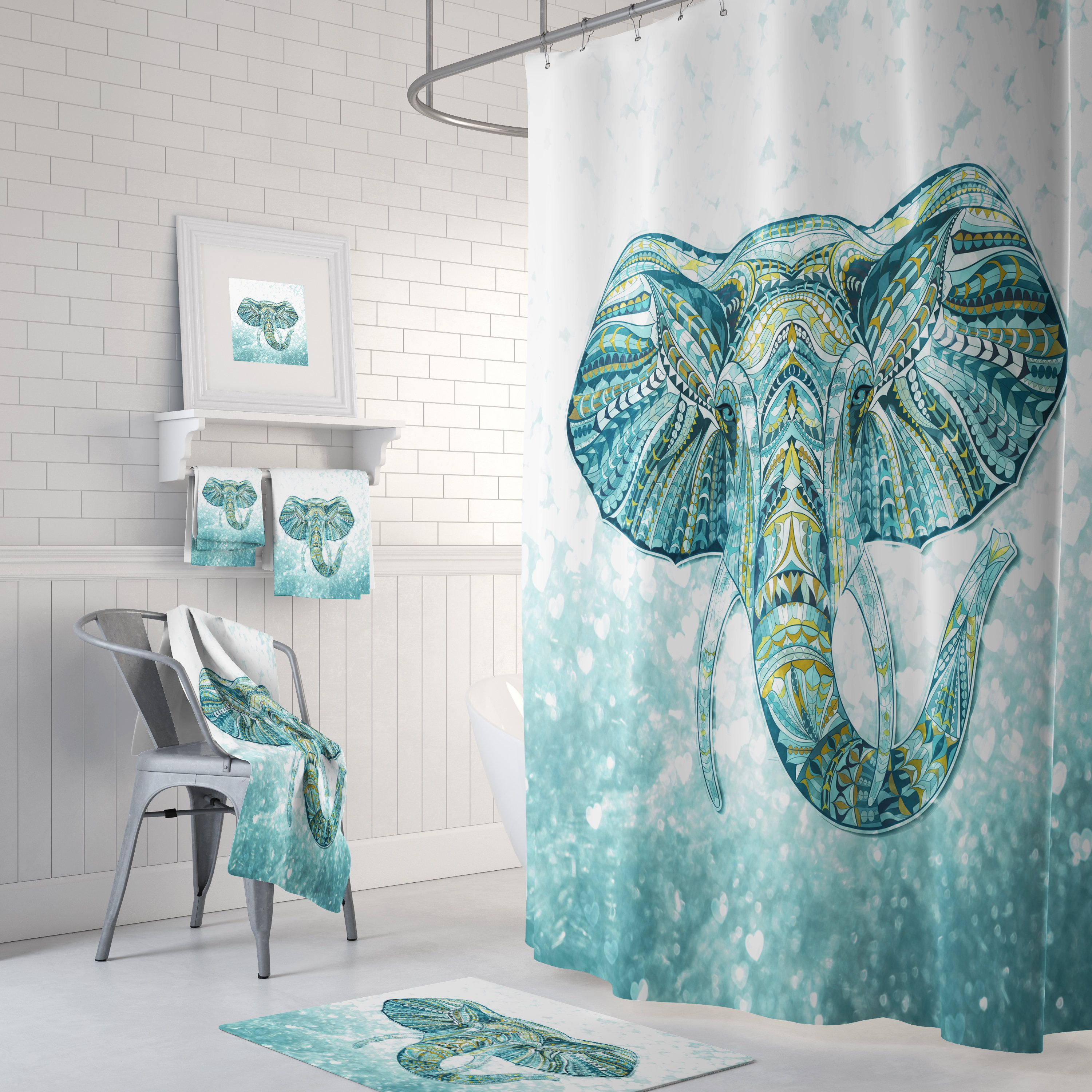 Pin by Folk N Funky on Home sweet home  Elephant shower curtains