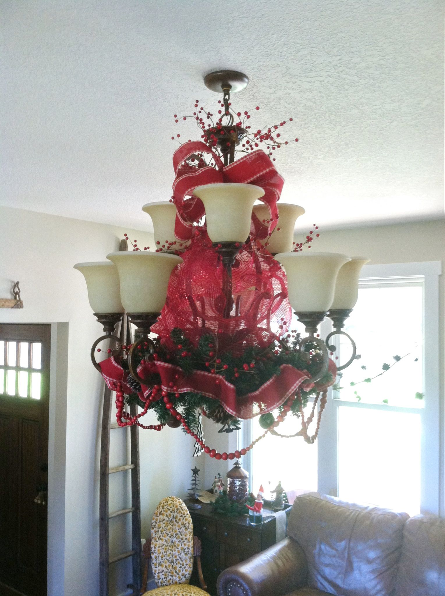 Christmas Decoration For Chandelier Christmas Chandelier Decor