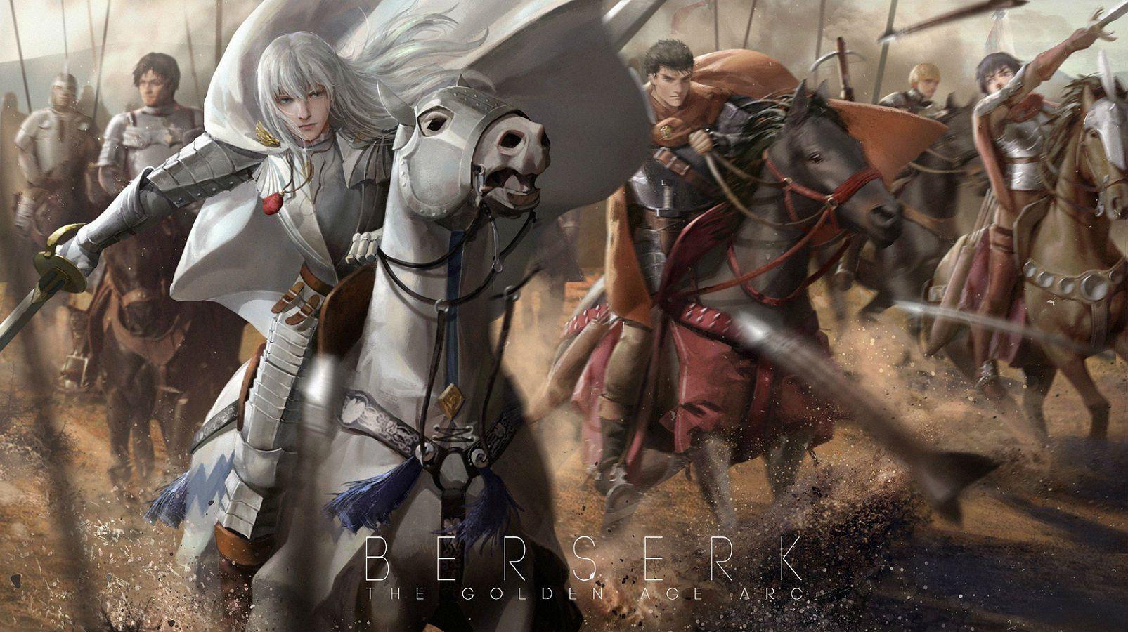 Animal Armor Behelit Berserk Caska Corvus Griffith Guts Horse Lightofheaven Male Rickert Sword Weapon White Hair Wallpaper