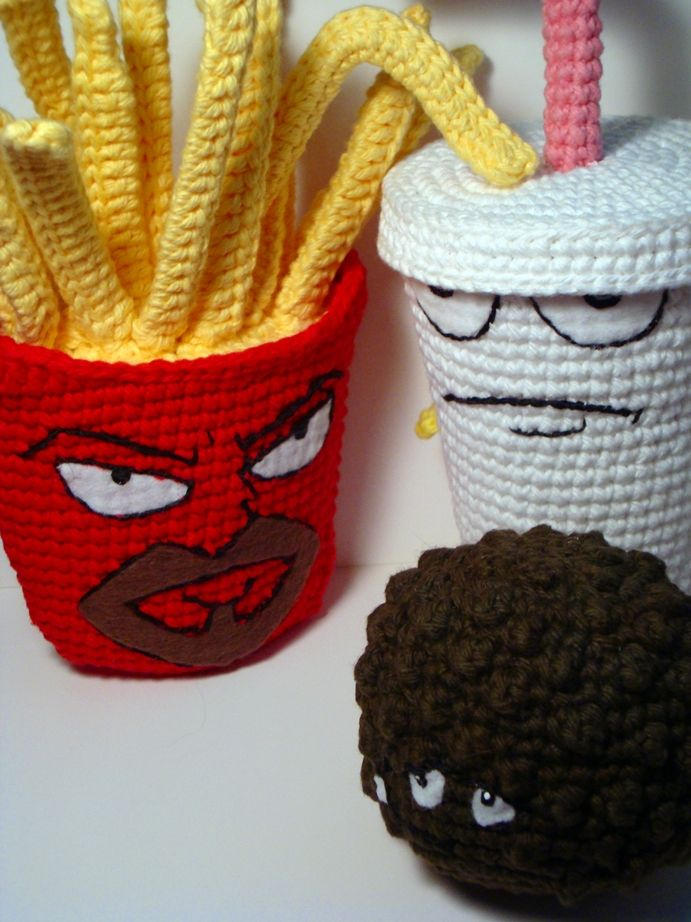 Aqua Teen Hunger Force (Meatwad, Frylock and Master Chake) - Free Amigurumi Pattern